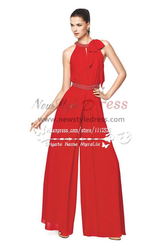 Beach Wedding Pants Red Chiffon Wide Legs Jumpsuit Wps 039