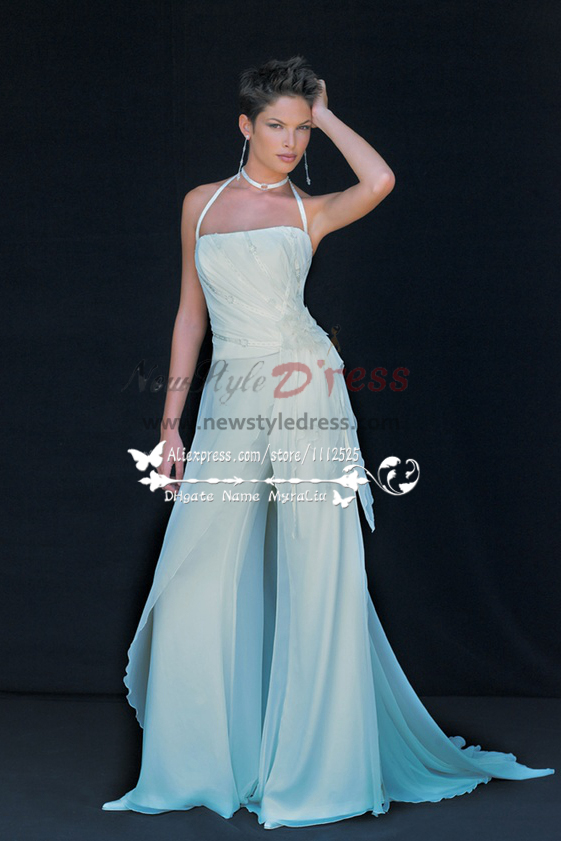 Beach Wedding Wear White Chiffon Bridal Jumpsuit Low Price Wps 037