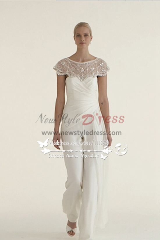 44b6c8756851 Beautiful Chiffon bridal jumpsuit wedding dresses with delicate hand beaded  cape wps-044