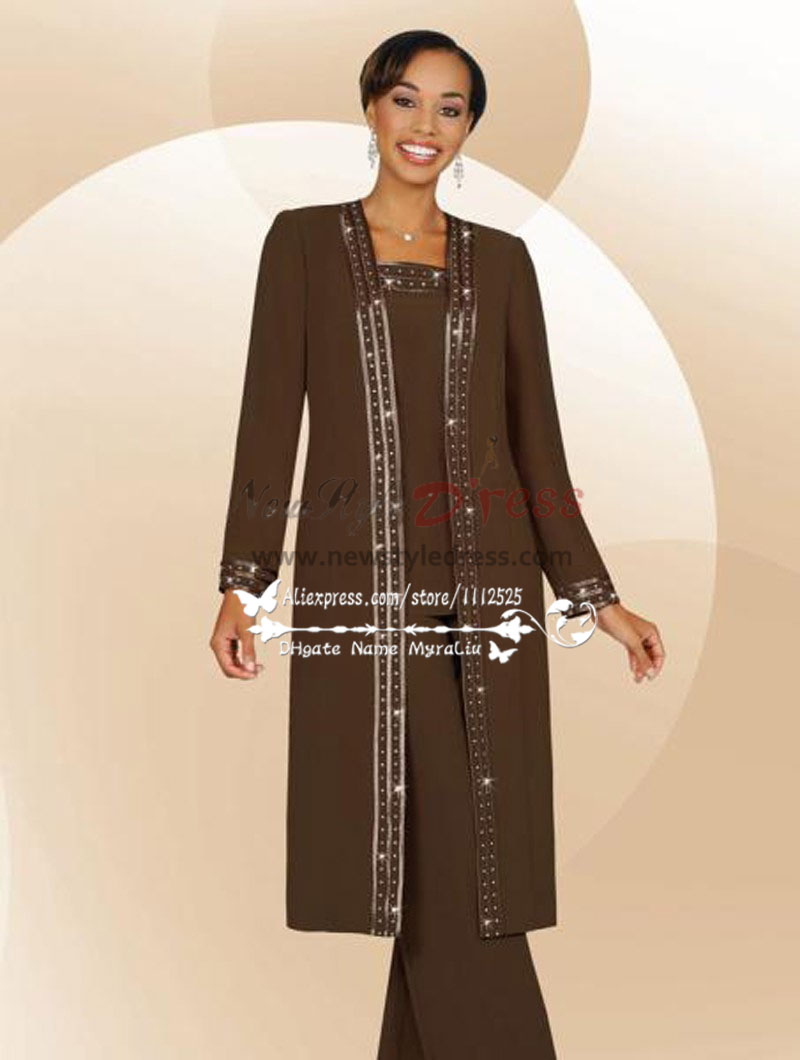 Brow Chiffon Three Piece Outfit Mother S Pant Suits With Long Coat