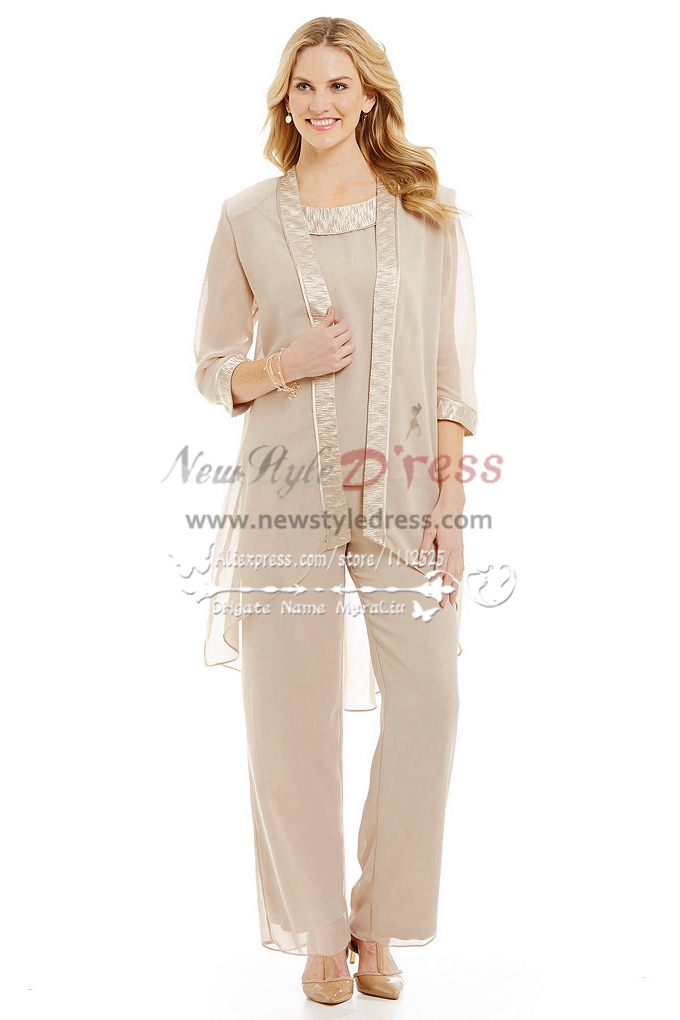 Champagne Chiffon Outfits For Wedding Mother Of The Bride Pant Suits Comfortable Plus Size Pantset Nmo 258