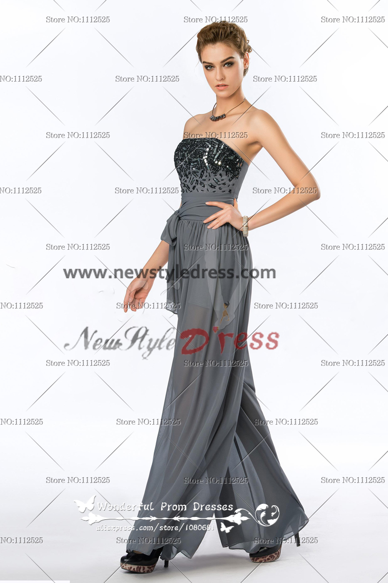 Strapless Sequins Fashion Charcoal Grey Women S Jumpsuits