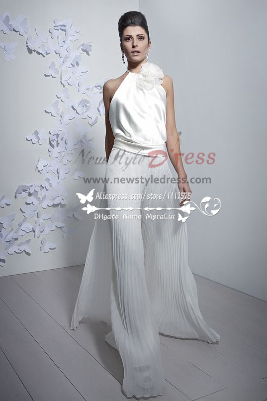 Charming Bridal Jumpsuit Halter Wide Legs Accordion Pleats Pants Culottes Wps 033