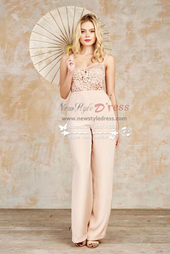 Charming Pink Chiffon Bridal Jumpsuits Dress For Spring Wedding Wps 096