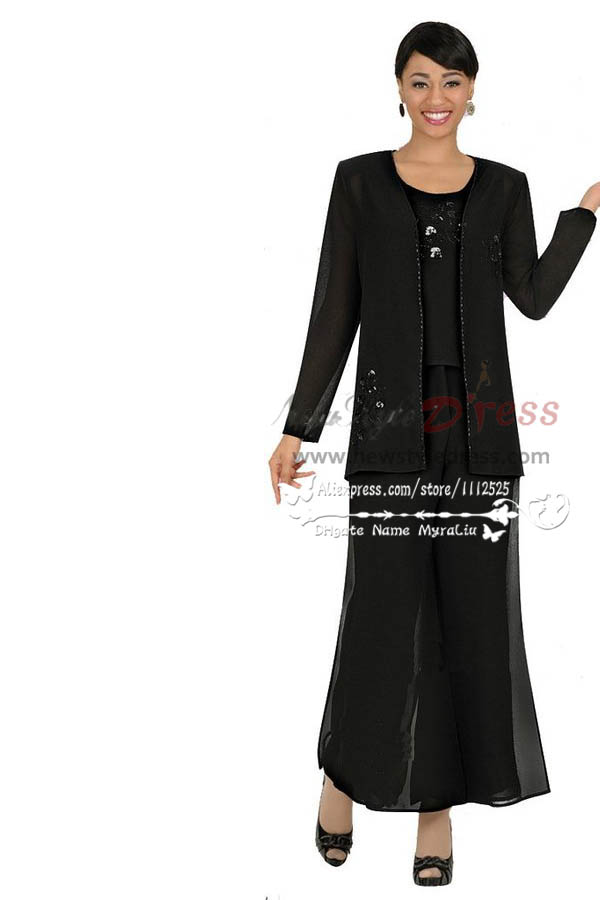 Chiffon Black Three Piece Outfit Mother Of The Bride Pant