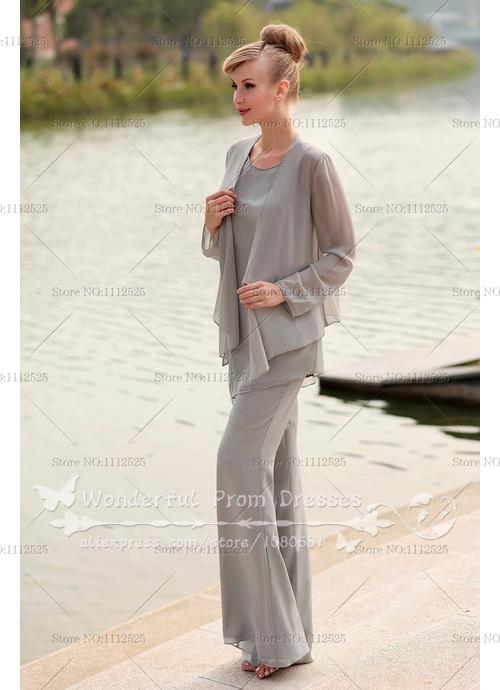 Elegant Gray Chiffon Three Piece Mother Of The Bride
