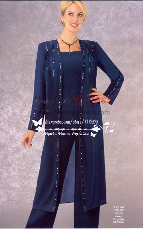 742954ae7f8 Classic Mother of the bride pant suits with long coat Dark navy chiffon  dresses Plus size