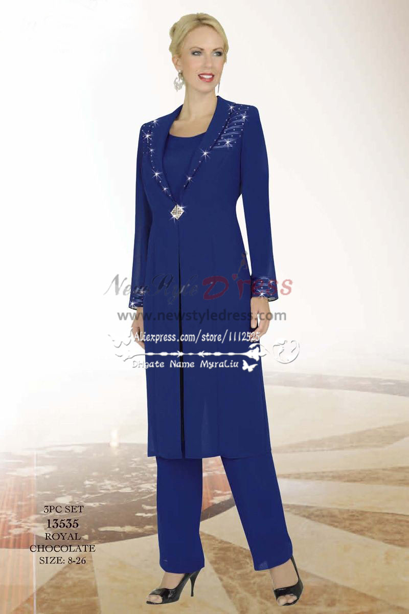 Classic royal blue long coat with pant suit for the wedding nmo ...
