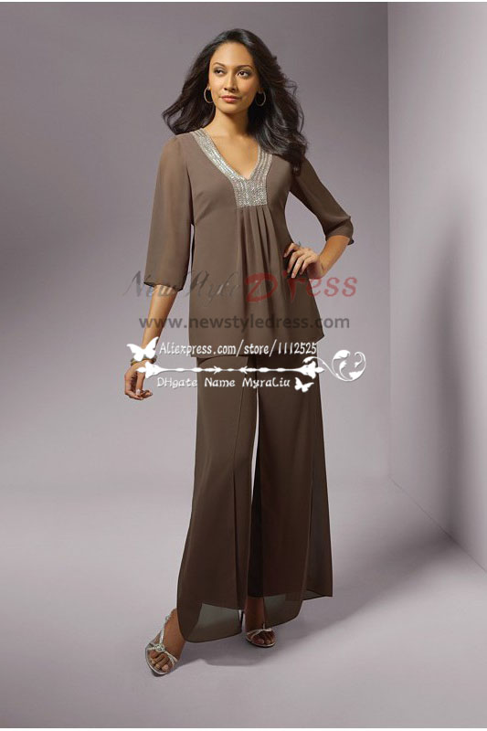 5e429982b0 Coffe/Chocolate Chiffon casual hand beaded neckline mother of bride  trousers suit nmo-226
