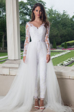 2020 Dressy Lace Bridal Jumpsuit with tulle Train wps-201
