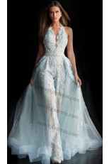 2020 Halter lace Princess bride jumpsuit Disassemble Brush Train V-neck wedding dresses nw-435