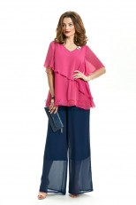 2PC Mother of the Bride Pant Suits Fuchsia Top And Navy Trousers nmo-717-1