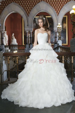 Multilayer Ruffles 20 Inch Train Sweetheart Princess wedding dresses nw-0129