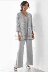 Elegant Gray Mother of the bride pant suits Elastic waist pants 3 piece Lace outfit nmo-534