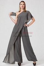 Gray Mother of the bride Jumpsuit chiffon wommen dresses Bridesmaids pants Dresses nmo-509
