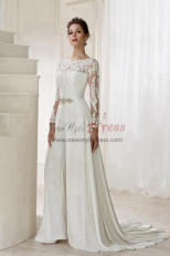 length Sleeves Bridal Jumpsuit Elegant Wedding pants dress with detachable train wps-115