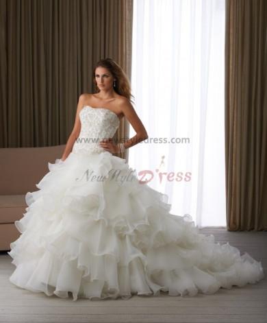Sweetheart Chest beading Ruched Elegant Chapel Train wedding dress under 200 nw-0121