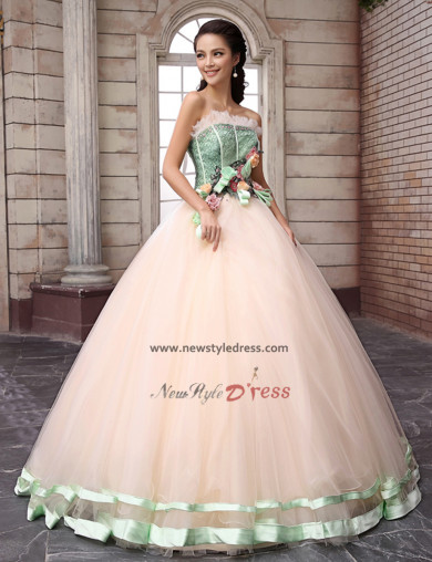 New Arrival Embroidery Ruffles flesh Handmade flower pink under 200 Quinceanera Dresses nq-003