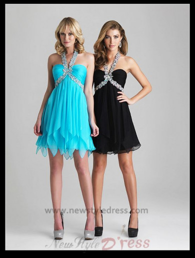 Sexy Tiered Crystal Beads Halter Short Dress nm-0270