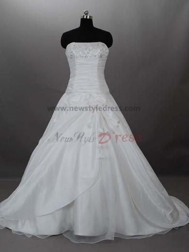 Appliques Chest Appliques Zipper-Up Satin Off the Shoulder A-Line Bow Elegant Pleat wedding dresses nw-0014