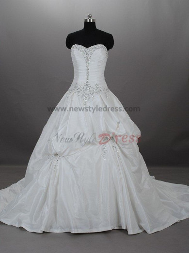 Ruffles Crystal Lace Up Satin Strapless A-Line Elegant Chapel Train wedding dresses nw-0018