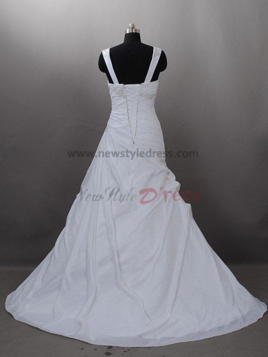 Lace Up Shoulder strap Draped Beading a-line SweepBrush Train wedding dresses nw-0002