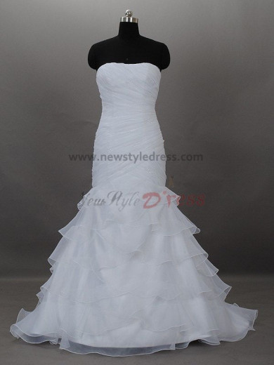Off the Shoulder Sheath Glamorous Floor-Length Pleat Tiered Ruched Summer wedding dresses nw-0016