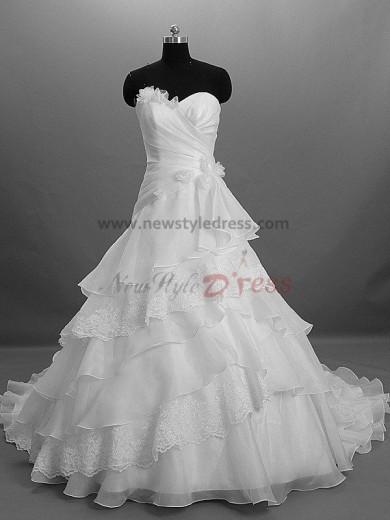 Tiered Flowers Zipper-Up Strapless A-Line Modern Chapel Train Built-in Bra wedding dresses nw-0005