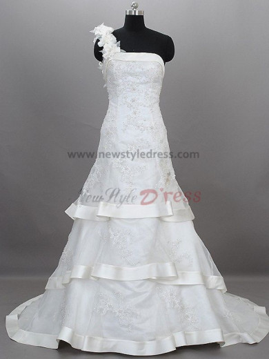 Tiered Embroidery One Shoulder Lace Up A-Line Informal Winter Sweep Train Satin wedding dresses nw-0008