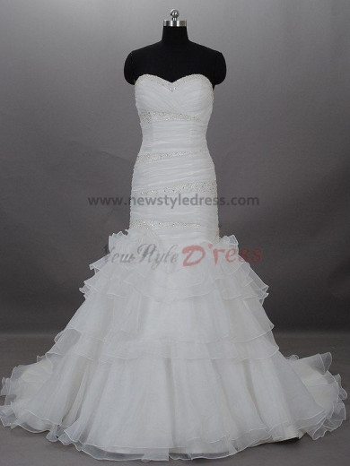 Tiered Sheath Sexy A-Line Strapless Draped Beading Built-in Bra wedding dresses nw-0003