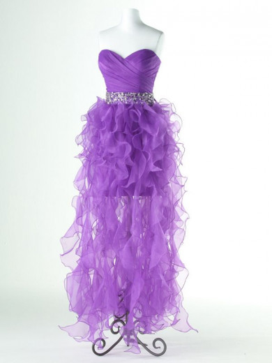 Pearl Pink\Purple Ruched Hi-Lo Crystal Belt Sweetheart Gorgeous Homecoming Dresses nm-0152