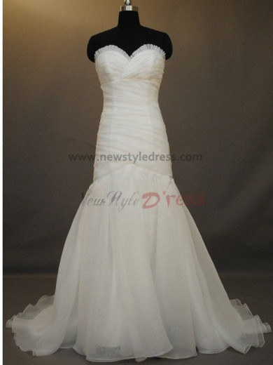 Sheath Zipper-Up Sweep Brush Train Ruffles Natural wedding dresses nw-0012