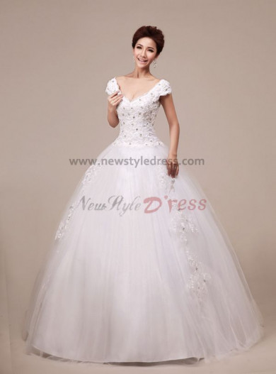 Halter dress Organza V-neck Ball Gown Modern Floor-Length Hand-beading Crystal Sequins Wedding Dresses nw-0087
