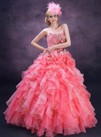 Watermelon Strapless Chest Appliques Ruched New Arrival Floor-Length Quinceanera Dresses nq-017