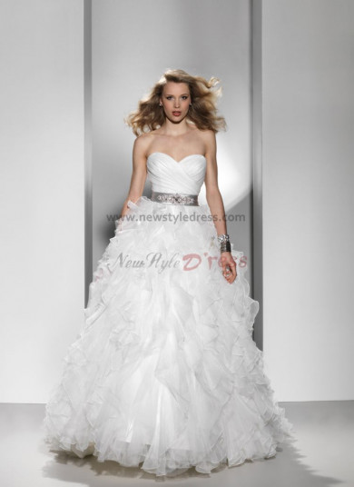 Sweetheart Sweep Train Ruffles Simple silver gray Sashes wedding dress nw-0123