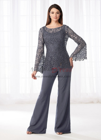 Charcoal Gray Mother of the bride pant suits dresses Lace Two piece pants outfits nmo-530