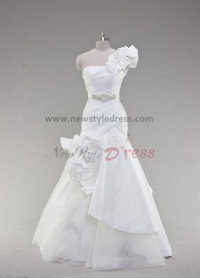One Shoulder Glamorous Floor-Length Pleat Asymmetry Handmade flower Wedding dresses nw-0020