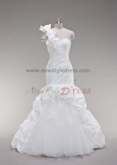 One Shoulder Chest Appliques Flowers Organza Satin Draped Princess Elegant Embroidery Royal Train Wedding dresses nw-0033