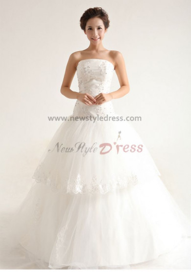 Lace Strapless Court Train Hand-beading Tiered Back Design Zipper-Up Wedding Dresses nw-0095