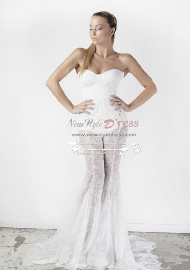 Mermaid lace pant suits for wedding dresses Strapless Sheath jumpsuit wps-062