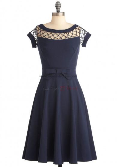 Blue a-line Knee-Length Jewel Custom Bridesmaids Dresses nm-0162
