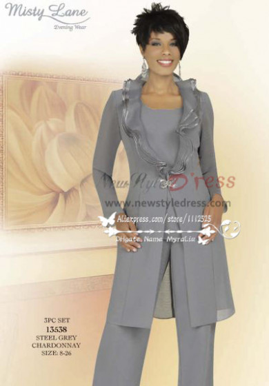 Classic mother fo the bride pant sutis with long jacket Gray 3 PC chiffon women