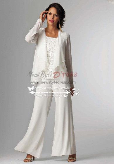 Elegant white Mother of the bride pants suit with jacket