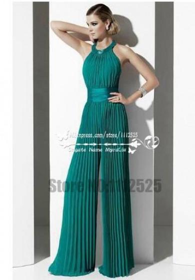 Charming green chiffon prom dresses wide legs accordion pleated ...