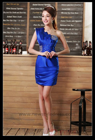 One Shoulder Satin Package buttocks short dress nm-0279