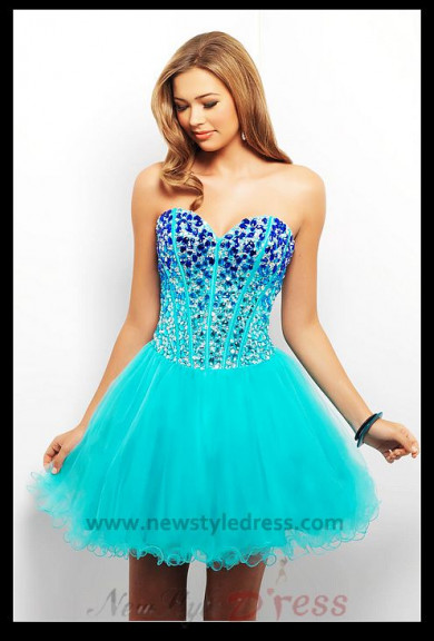Chest Wit Crystal Tulle Above Knee Homecoming Dresse nm-0267