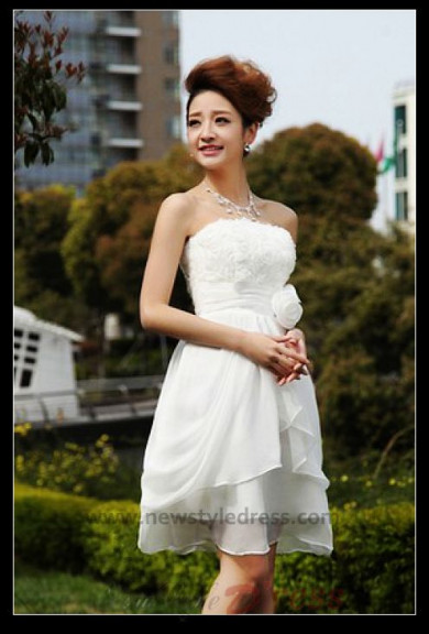 Chiffon Strapless Handmade flower Knee-Length short dress nm-0271