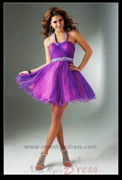 purple Ruched Waistline Crystal Above Knee Homecoming Dress nm-0277