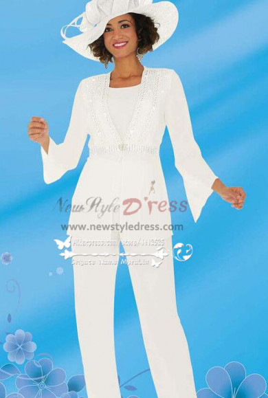 White Formal Long Sleeve Mother of Bride Pant Suit nmo-273