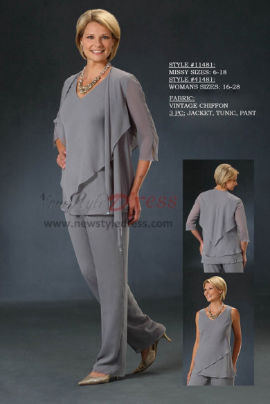 2020 Spring new arrival Gray Chiffon mother of the bride pant suits with jacket nmo-419